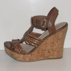 Aldo Platform T-Strap Wedge Sandal Brown